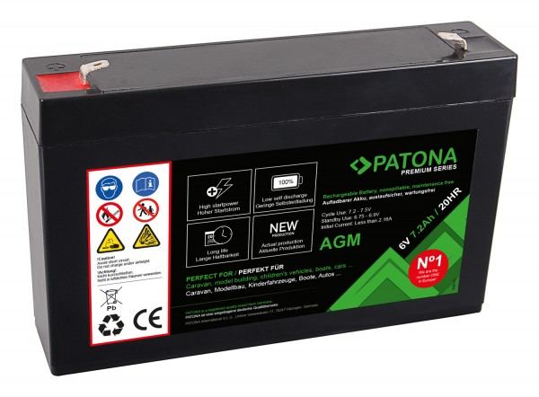 PATONA Premium AGM Blei Akku 6V 7.2Ah 20HR