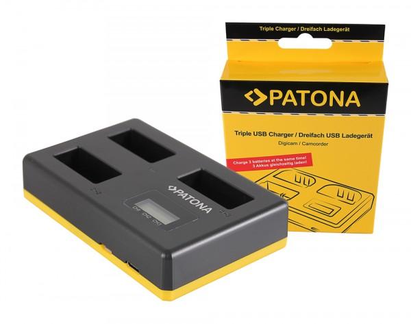 PATONA USB Triple Ladegerät f. Canon LP-E17 EOS 750D, EOS 760D, EOS 8000D, Kiss X8i, Rebel, Rebel T6i, Rebel T6s, T6i, T6s inkl. USB Type C Kabel