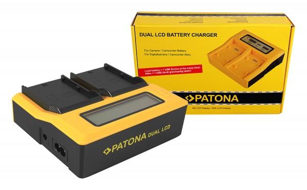 PATONA Dual LCD USB Ladegerät f. JVC SSL-75 SSL-JVC50 SSL-JVC75 HM600 HM650