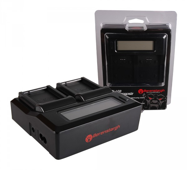 Berenstargh Dual LCD USB Ladegerät f. Leica Panasonic DMW-BLC12PP V-Lux 4 Panasonic DMW-BLC12PP